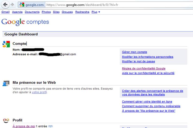 Dashboard Google
