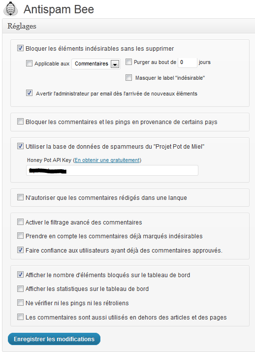Réglages plugin WordPress antispam bee