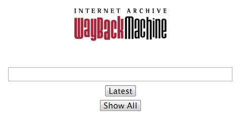 Page d'accueil de la Wayback Machine