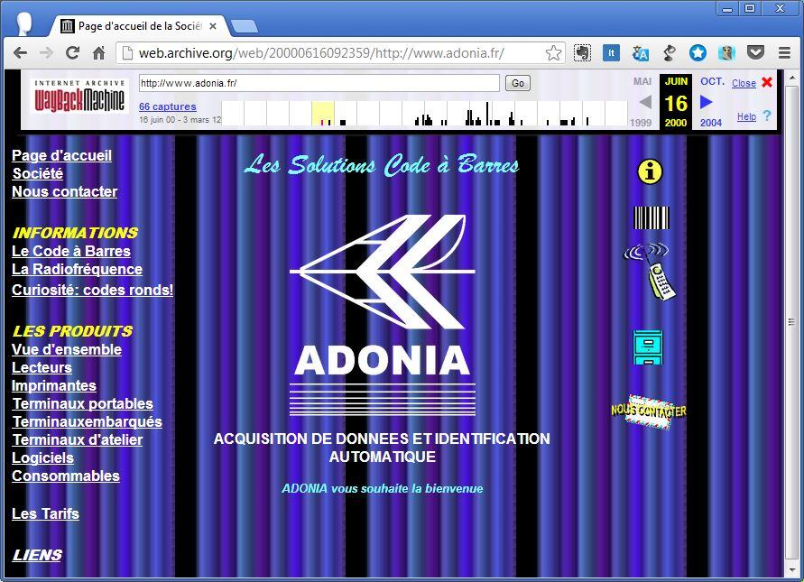 Le site Adonia en 2000