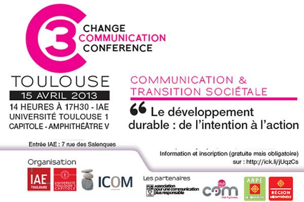 IAE Toulouse 15 avril 2013 – Conférence sur la communication au service du développement durable