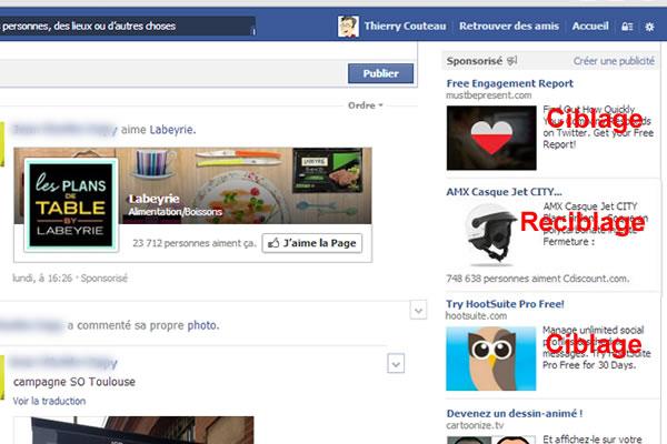 Exemple de ciblage publicitaire sur Facebook