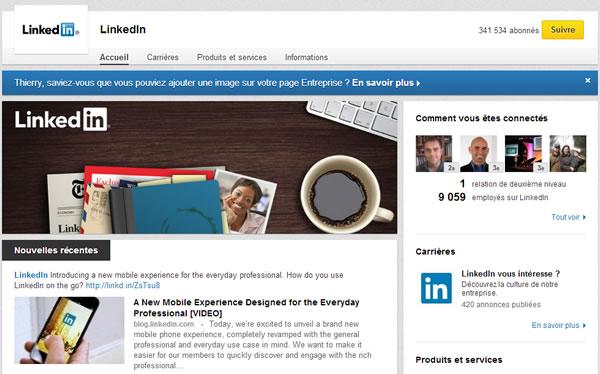 Page entreprise de Linkedin