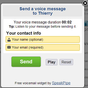 Ecran de validation de l'envoi du message SpeakPipe