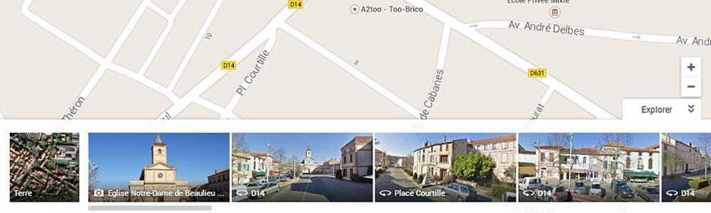 Exemple de carrousel Google Maps