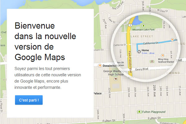 Test de la nouvelle version de Google Maps