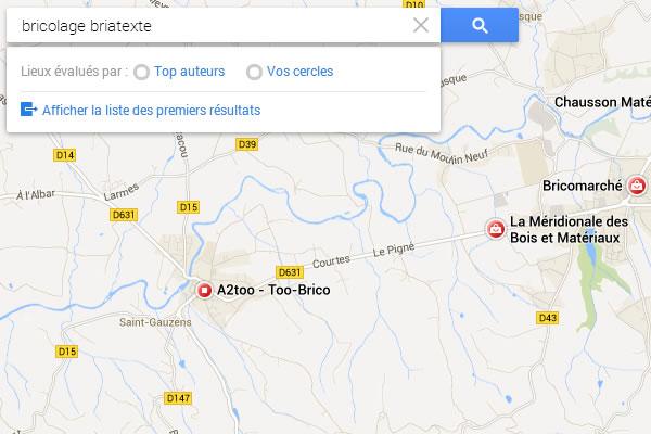 Exemple de recherche sur Google Maps