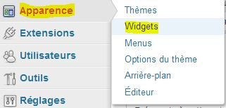 Menu WordPress Apparence - Widgets