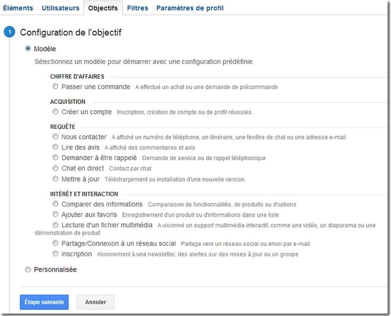 Google Analytics, objectifs étape 1