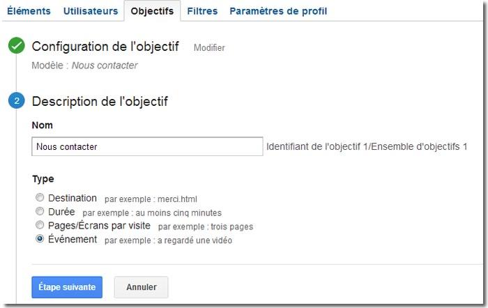 Google Analytics, objectifs étape 2
