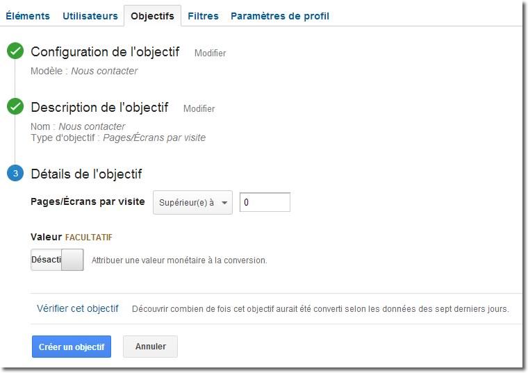 Google Analytics, objectifs étape 3 - Pages par visite