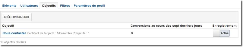Google Analytics - Tableau des objectifs