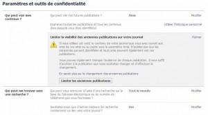 Facebook - paramètres de confidentialité du compte