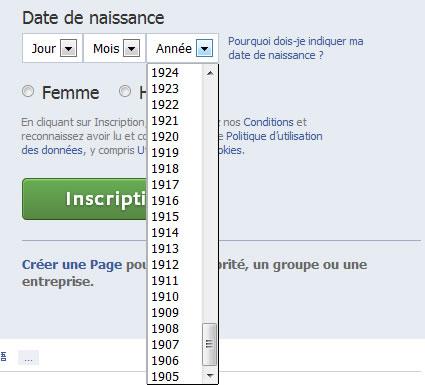 La zone date de naissance de Facebook