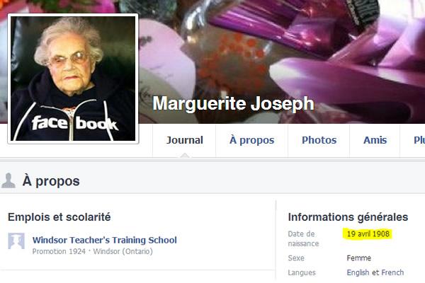 Marguerite Joseph, la centenaire de Facebook, nous a quittés le 30 juillet 2013