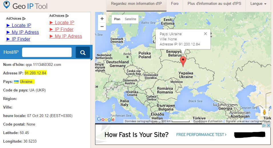 Exemple résultat localisation adresse IP